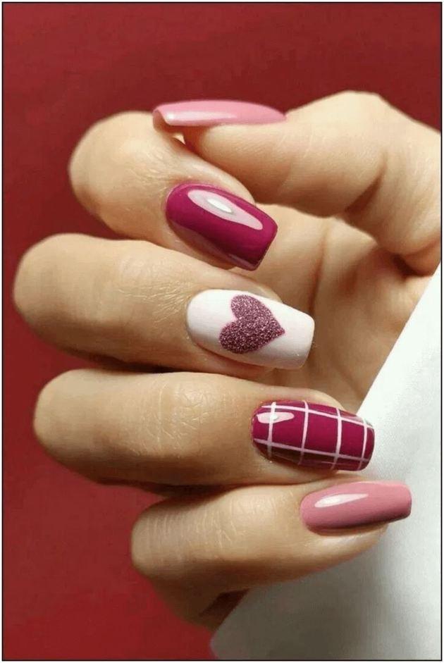 glitter heart coffin nails