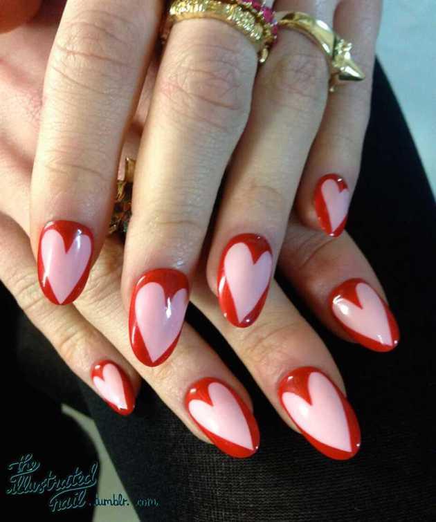 short coffin heart illustration nails