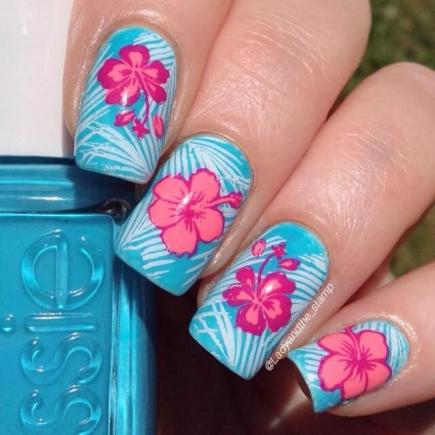 blue and coral hawaiian hibiscus flowers summer nails