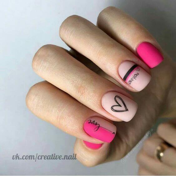 I love you with heart matte pink nails designs for valentines day