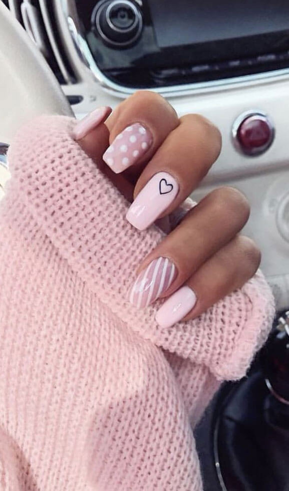 polka dots and striped heart pink coffin nails