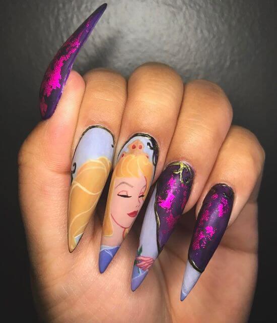 snow white birthday nails