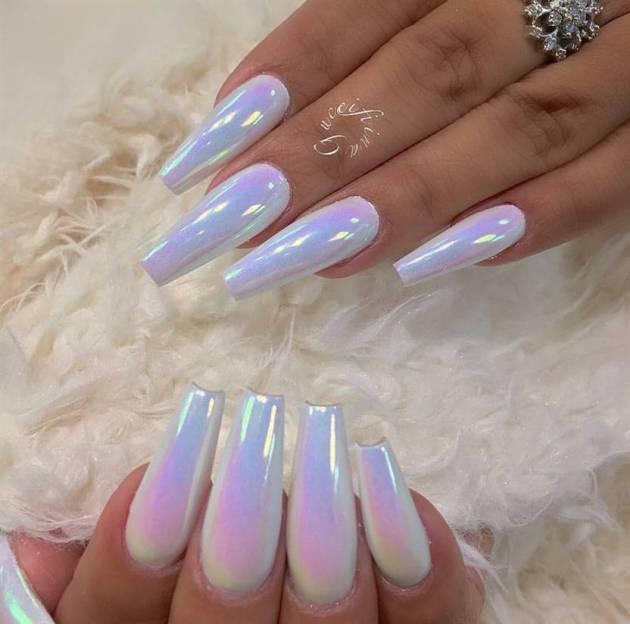 cute unicorn chrome birthday nails ideas
