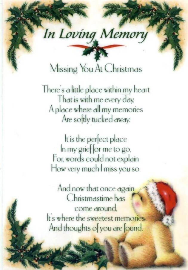 missing you at christmas poem him-her who has passed away