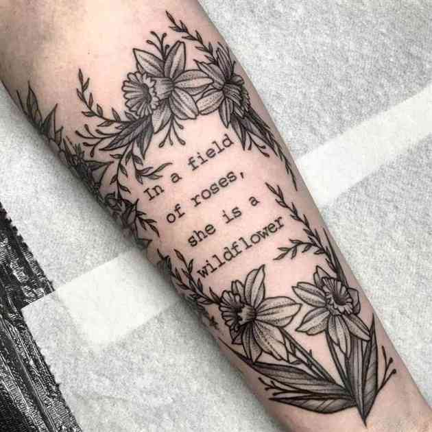 december birth flowers narcissus quote tattoo design