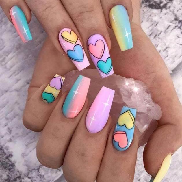 neon rainbow acrylic heart nails designs