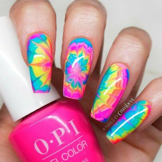neon marble tie and dye inspired summer nails