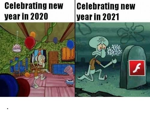 sad new year 2021 celebration meme