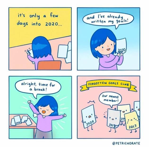 not attaining goals meme for new year