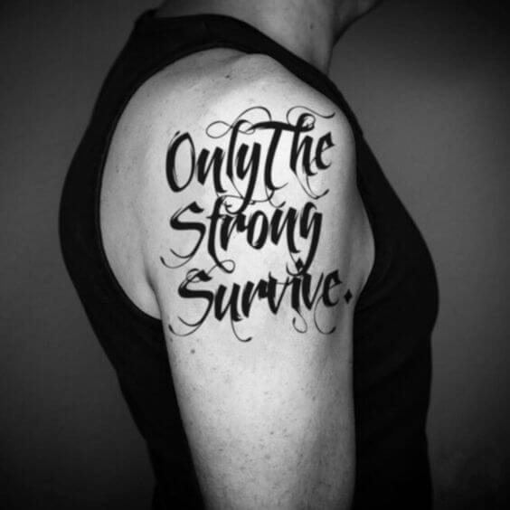 only the Strong Survive tattoo design calligraphy temporary sticker idea