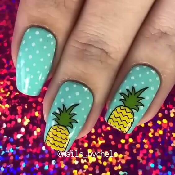 bright color pineapple summer nails