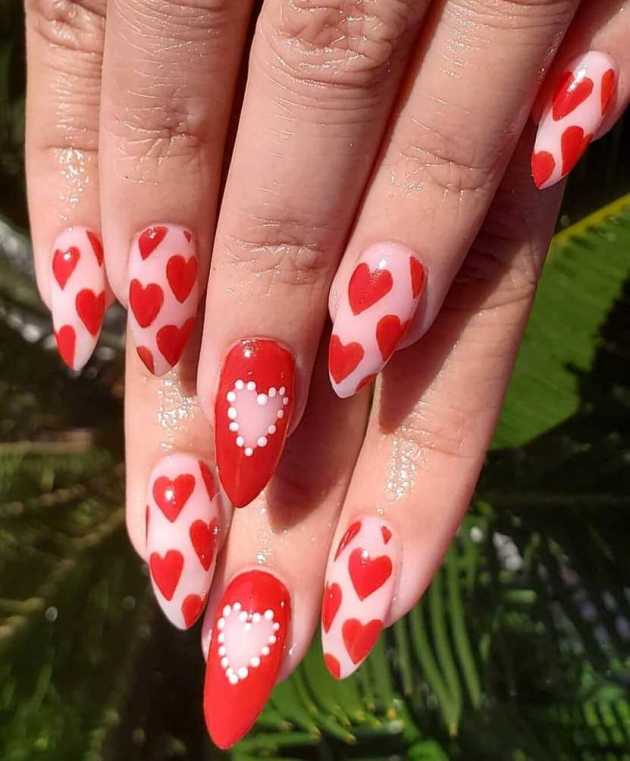 red hearts nude pink coffin nails designs