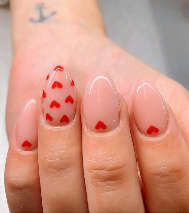nude coffin valentines day red hearts manicure