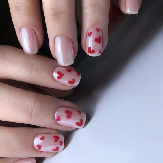 cute red heart nude nails designs