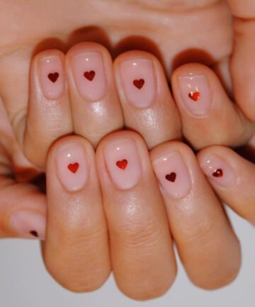 single red heart nude nails art design  ideas for valentines day