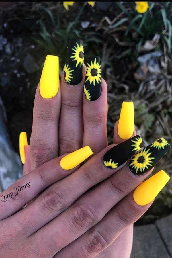 black and yellow sunflower nails for summer