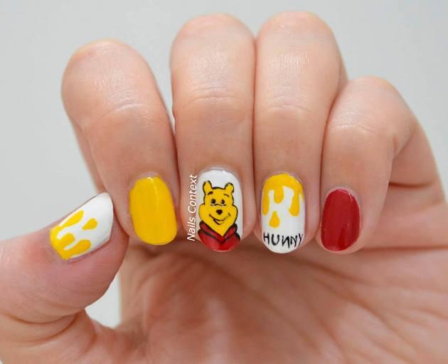 cute winnie the pooh theme birthday nails