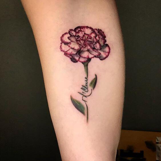 carnation signature January birth flower tattoo design idea