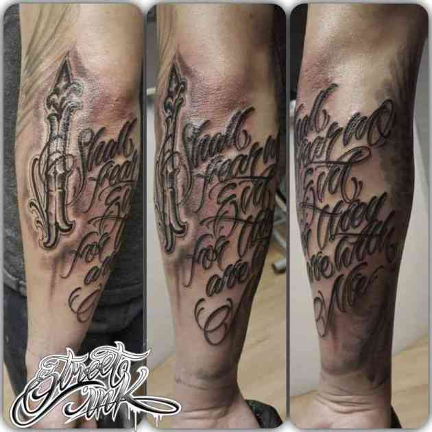 i shall fear no evil calligraphy font tattoo on back arm for men