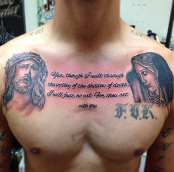 Jesus and Mary chest with i will fear no evil bible verse tattoo design on men chest