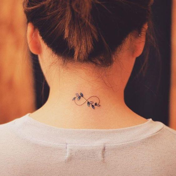 floral infinity tattoo design idea on back neck for women