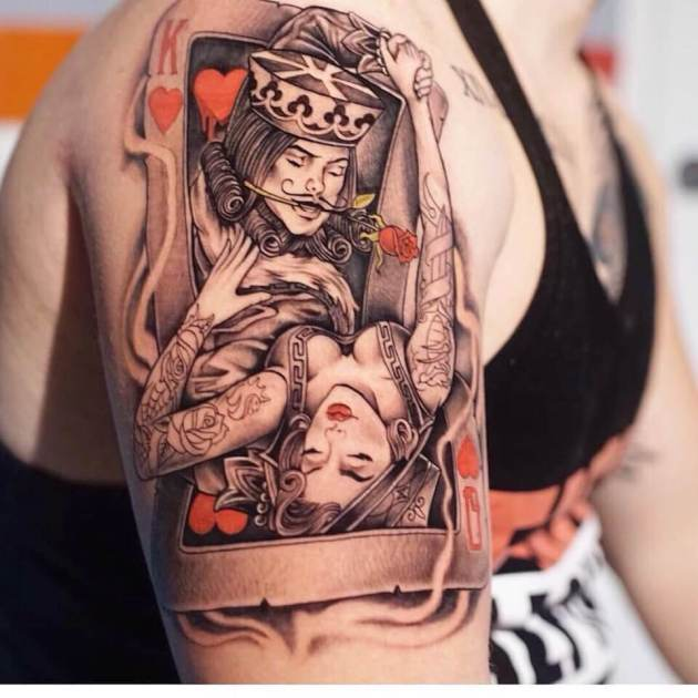3d romantic king and queen playing card tattoo design