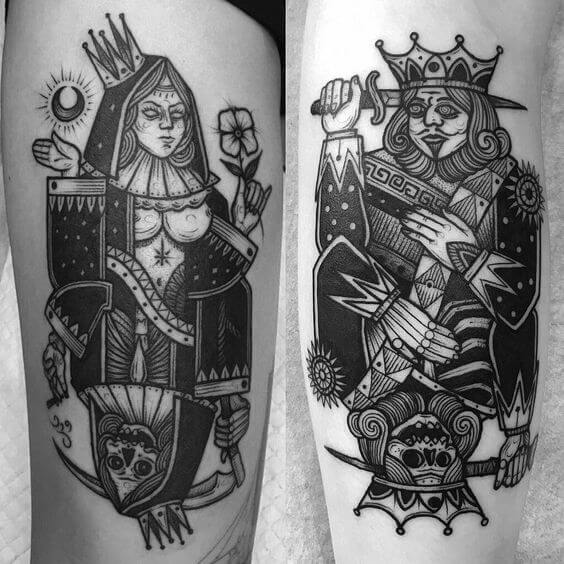 middle age gothic King and Queen Card tattoo designs