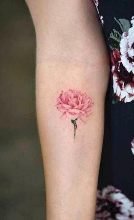 pink carnation January birth flower tattoo design on forearm