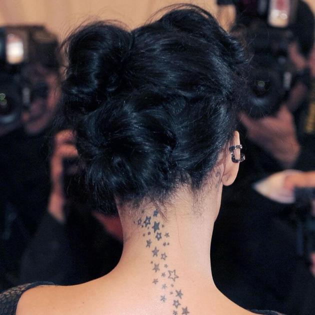 tiny stars tattoos on back neck for girls
