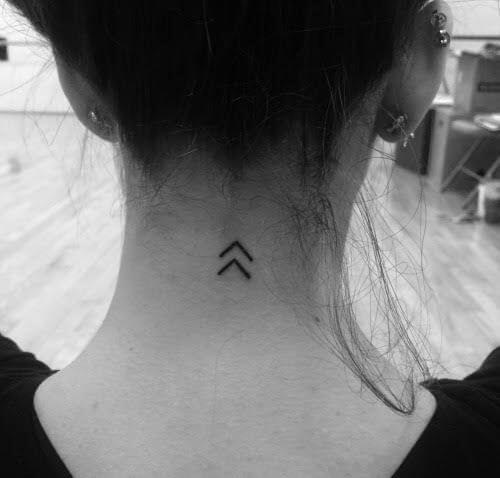 chevron tattoo idea on back neck for females