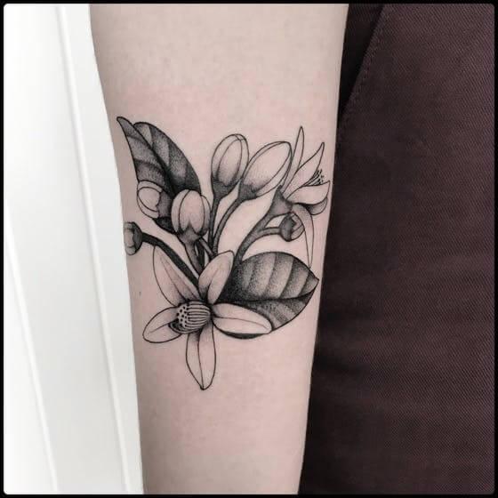 delicate black and white narcissus tattoo design