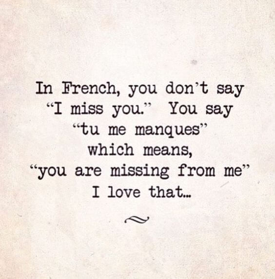missing you quote in French