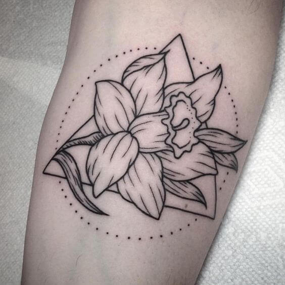 abstract black and white narcissus flower tattoo design