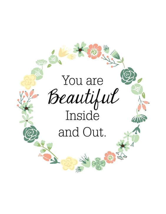 you are beautiful inside out quote image for her to smile
