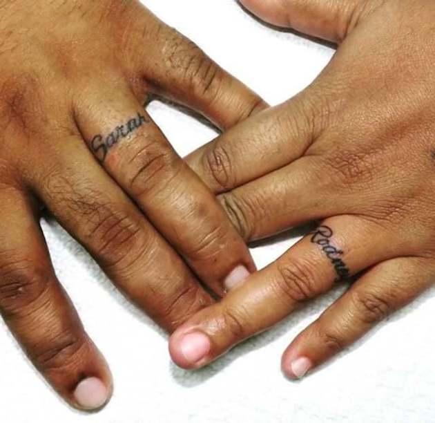 name wedding ring tattoos