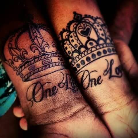 one love king and queen crown tattoos on wrist for black couple