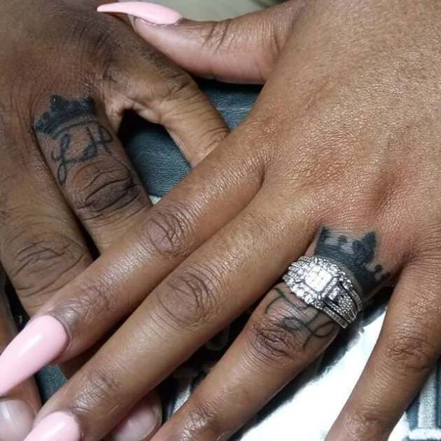 wedding ring finger crown with initials tattoo designs for black couple