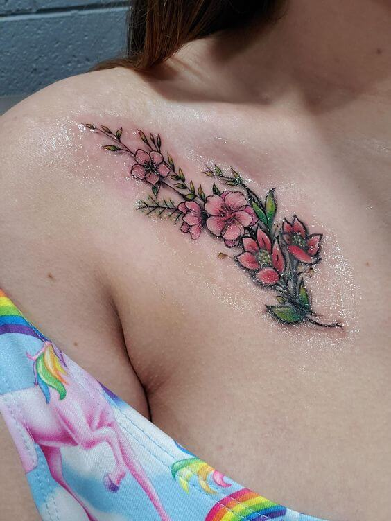 pretty pink gladiolus august flowers tattoo design on collarbone for girls