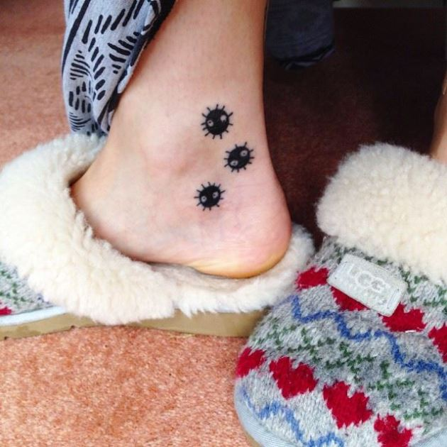soot sprite tattoos on ankle