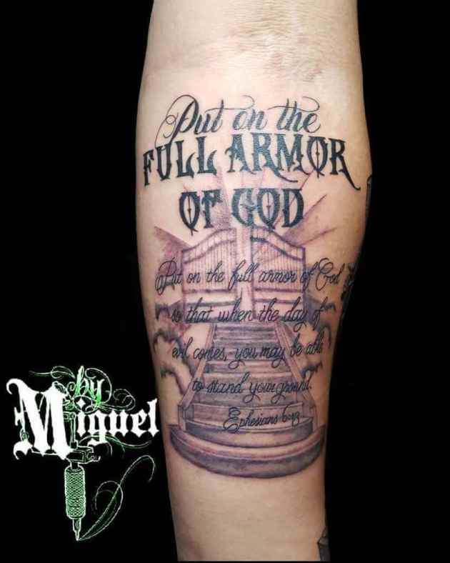 religious quote armor of god with gates of heaven tattoo design