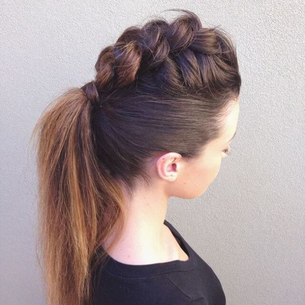 faux hawk braided ponytail hair style
