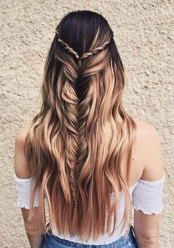 half hair fish tail braid hairstyle