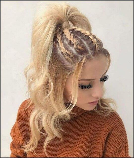 french braids half updo hair style