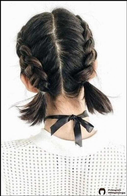 two french braids short hair style
