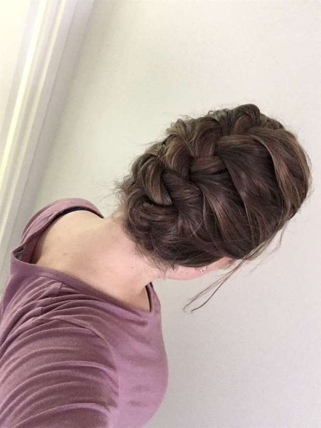 simple french braid and tuck hair style