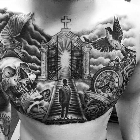 masterpiece gates of heaven tattoo design on chest for men