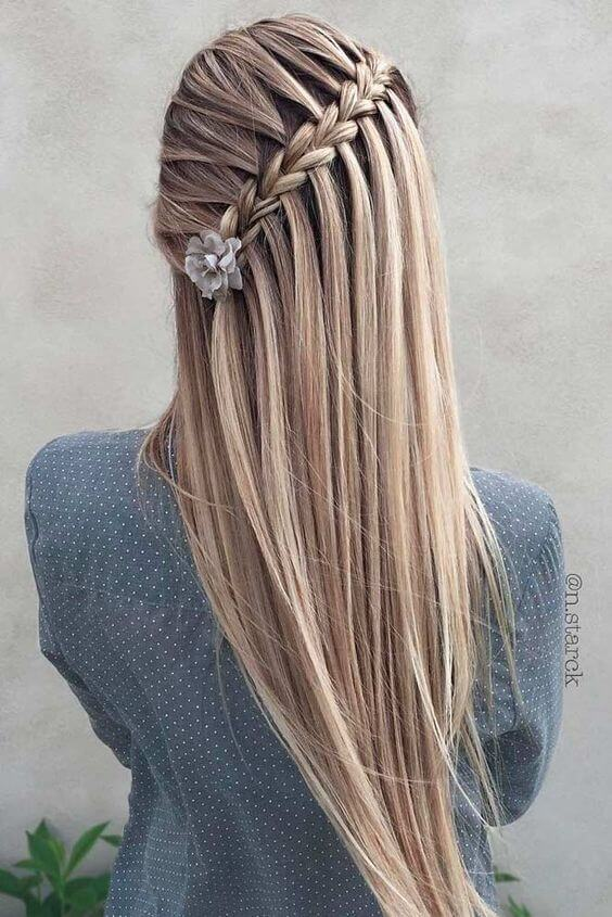 side waterfall braid hairstyle for long hair