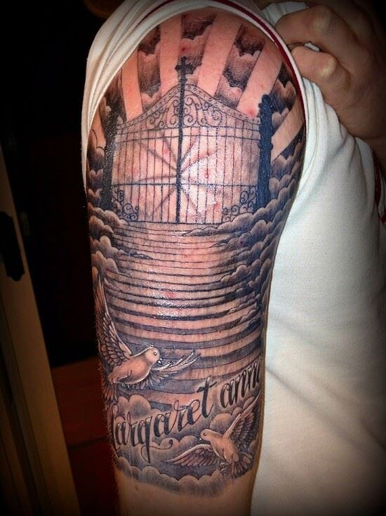 a beam of light coming through gates of heaven tattoo design on half sleeve for men