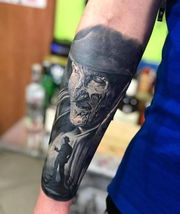 Nightmare on elm street Horror movie Freddy Krueger portrait tattoo design