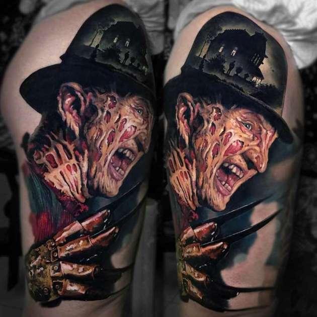freddy krueger movie portrait tattoo design